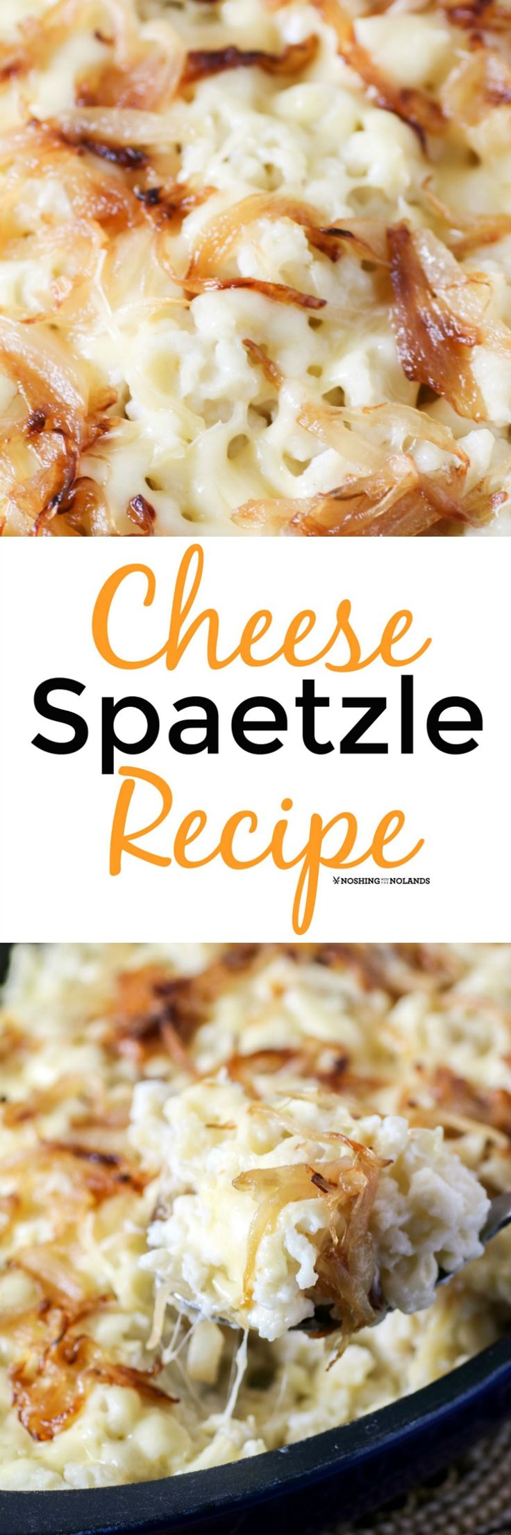 Cheese Spaetzle Recipe (Kaesespaetzle) by Noshing With The Nolands is a delicious German dish that can be served as a side or a meal on its own! It's like taking mac & cheese to a whole new level!