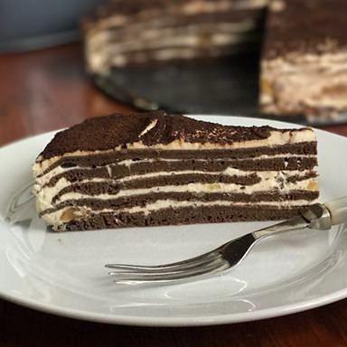 Carob Pancake Cake with Caramel Cream Cheese