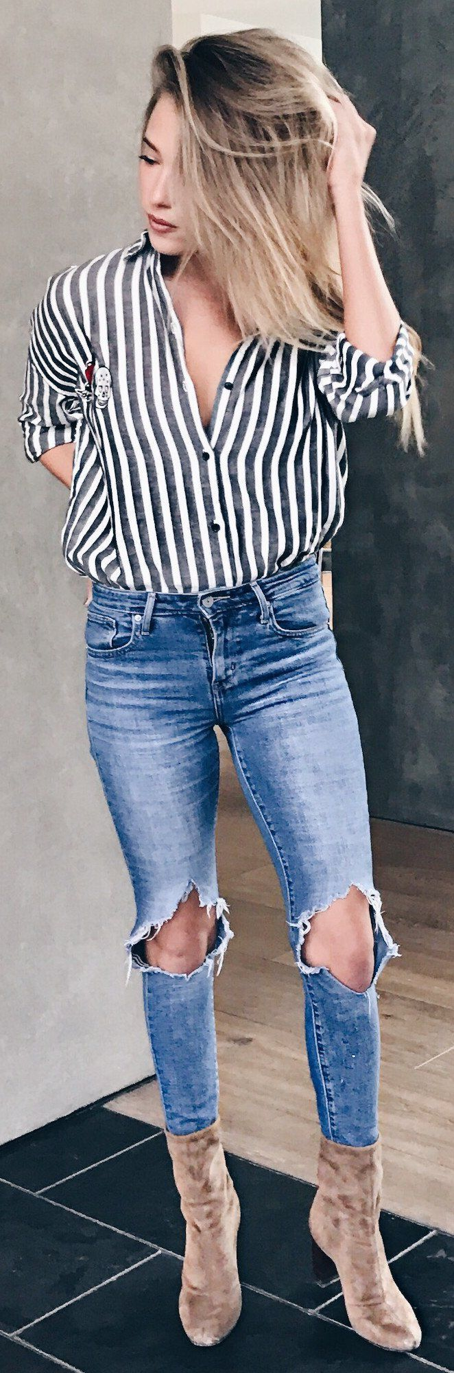 #spring #fashion /  Striped Shirt / Destroyed Skinny Jeans / Brown Velvet Booties