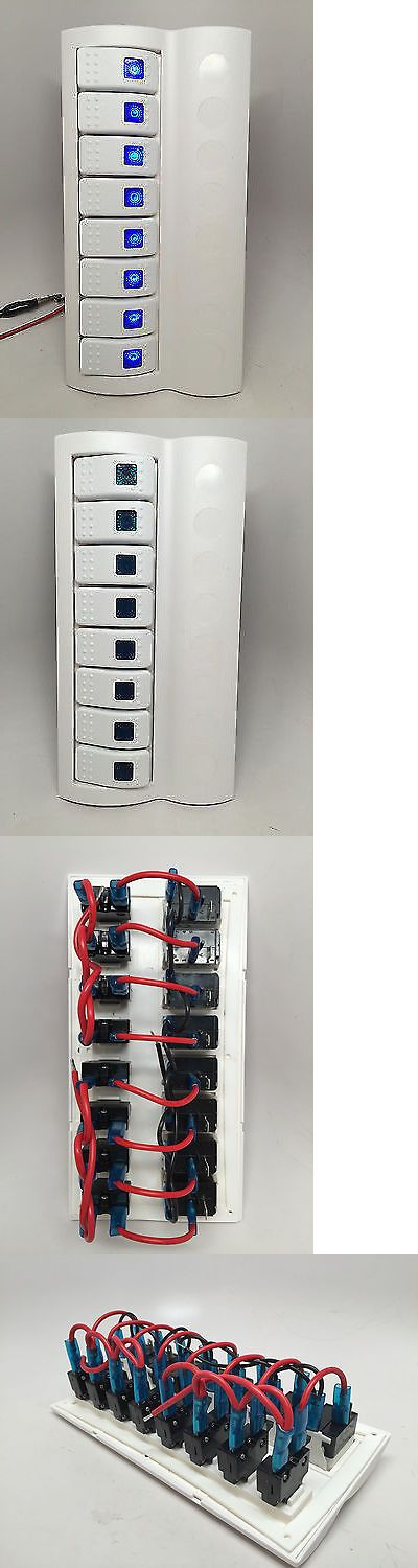 boat parts: Marine Boat White Switch Panel 8 Gang Blue Led Indicator Rocker Circuit Breaker BUY IT NOW ONLY: $42.95
