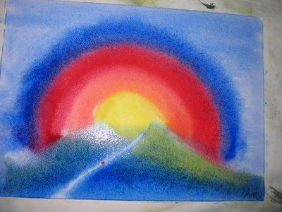 example of the painting exercise based on a story of a little rooster who thought he told the sun to rise, and set off to tell it to stay down to prove it! http://themaidenhairtree.blogspot.com/2009/05/recovery-saturday.html