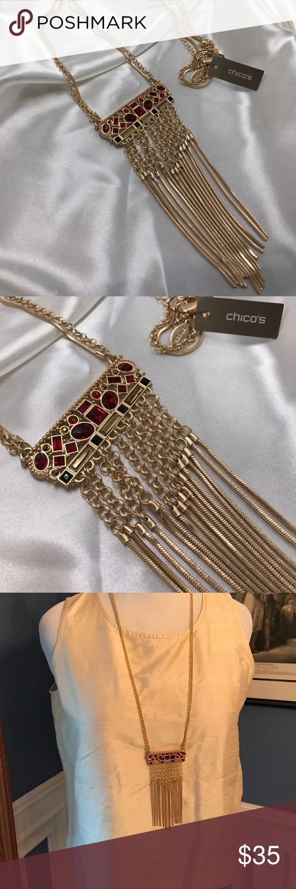 ❤️Chico's Red Rhinestone Fringed Necklace Beautiful & unusual necklace is NWT Chico's Jewelry Necklaces