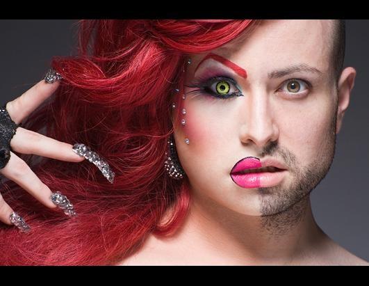 Yin  Yang ☯: Drag Queens, Photos Galleries, Leland Bobbé, Half Drag, Half Tensile, Photography Portraits, Maddelynn Hatters, Dragqueen, Drag Makeup
