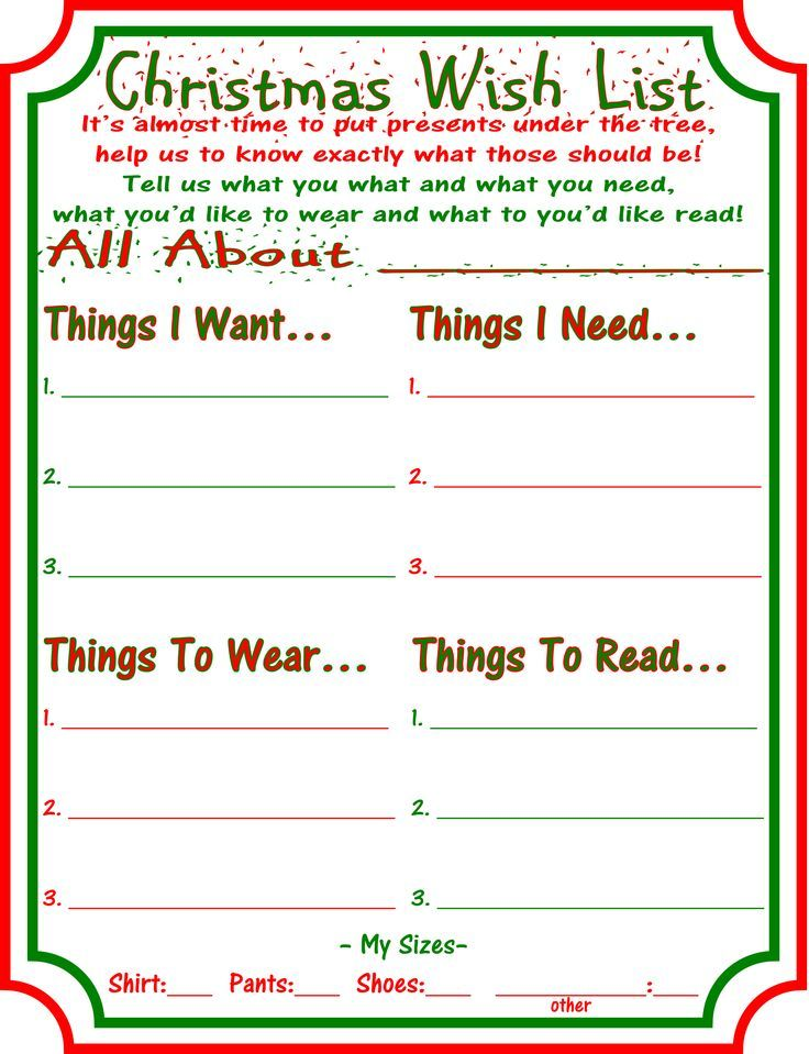 19 best u003eu003e wantneedwearread u003cu003c images on Pinterest Merry - free printable christmas wish list template