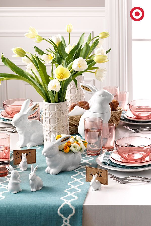 Our pink Threshold glass dishes, pastel table linens, white dinnerware and adorable bunny accessories—all the elements of a classic-meets-modern Easter brunch.