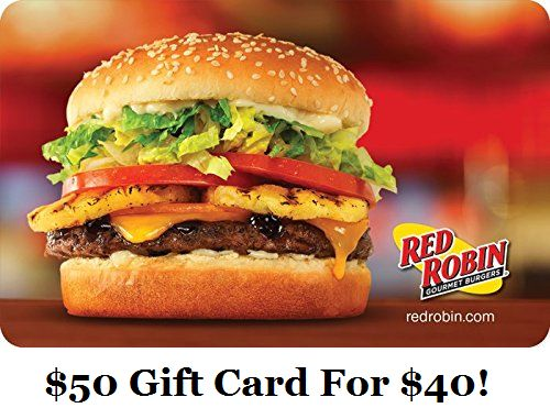 Get A $50 Red Robin Gift Card For Just $40! - http://couponingforfreebies.com/get-50-red-robin-gift-card-just-40/