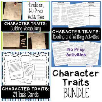 Character Traits bundle- includes task cards, cut and paste activities, reading passages, no prep activities, and more.  Great for third graders and fourth graders to help build their understanding of character traits.