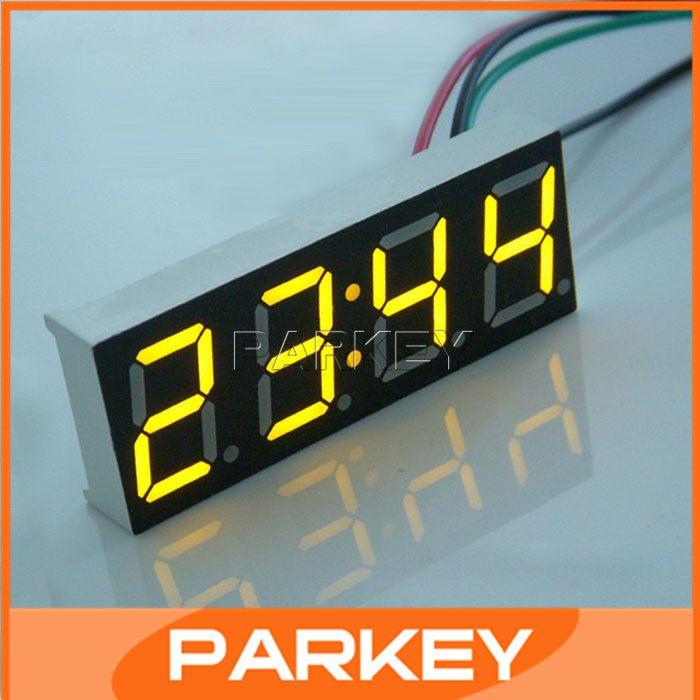 20 PCS numérique de voitures de véhicules automobiles moto 24 hora temps montre électronique DC 12 V / 24 V horloge LED jaune numérique horloge de Table # 200795(China (Mainland))
