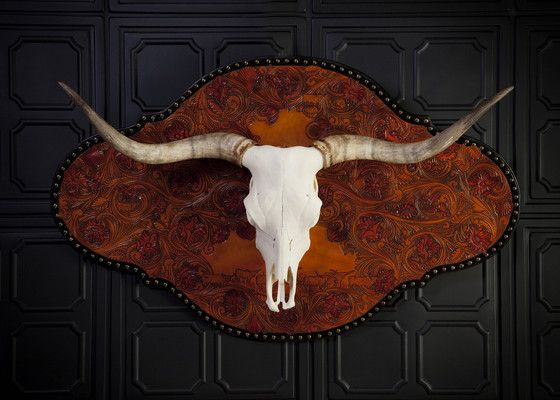 Texas Longhorn Skull Hand Tooled Leather Custom Tooled Leather Western Home