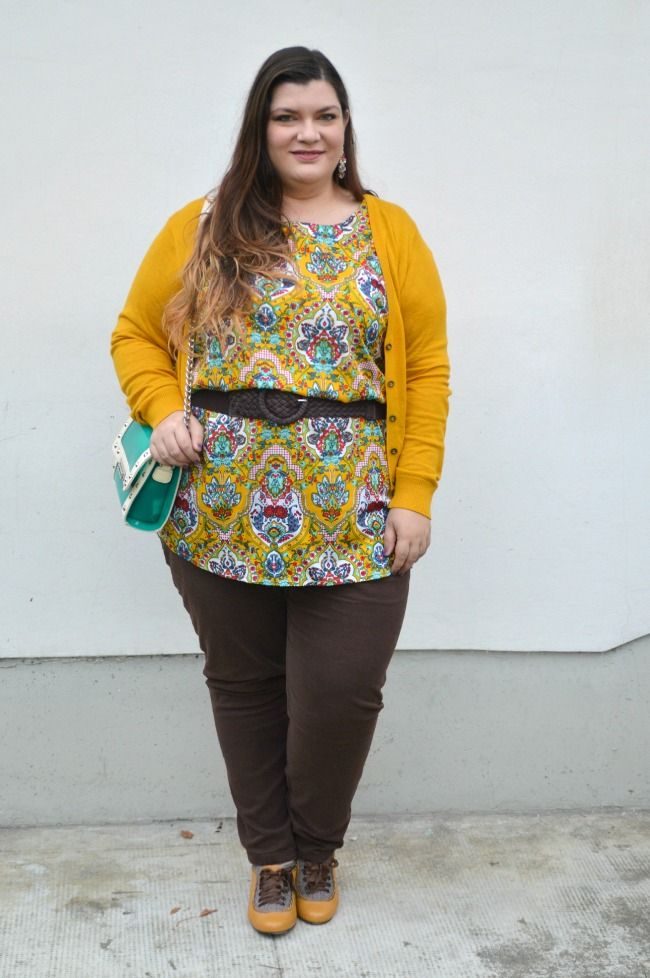 Plus... Kawaii! - A plus size fashion blog: Outfit: marrone e giallo senape