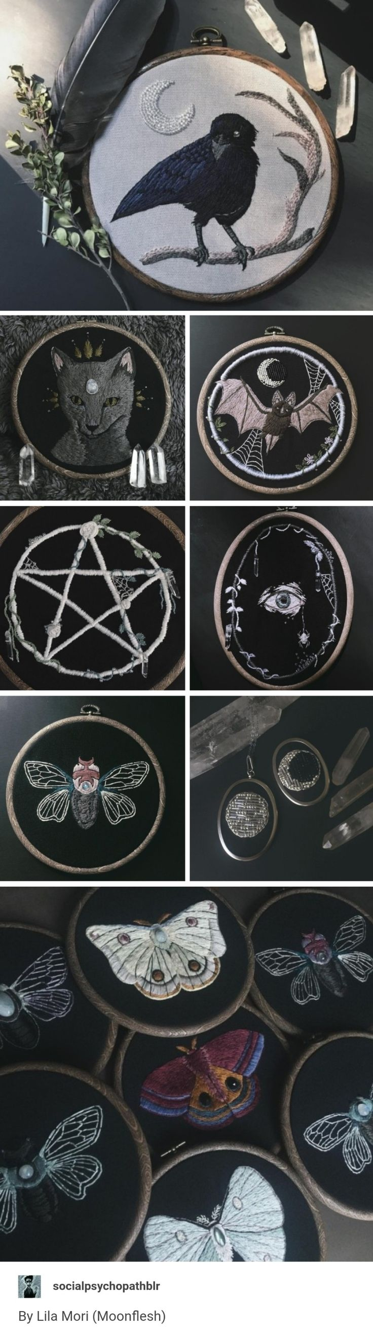 lyla mori (@moonflesh) dark embroidery with moths and ravens #handembroidery #embroideryartist Giulette Neferu