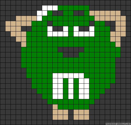 Green M perler bead pattern
