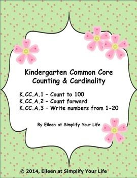 Kindergarten Common Core Assessment - Counting & CardinalityThis Kindergarten test packet contains the following:1.  Math Assessment/Data Tracking K.CC.A.1 - Count to 100 by ones and by tens (1 page)2.  Math Assessment/Data Tracking K.CC.A.2 - Count foward beginning from a given number within the known sequence (1 page)3.