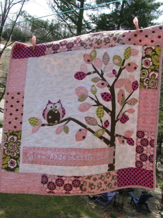 Owl baby girl quilt of flannel & cotton in pink por barabooboo