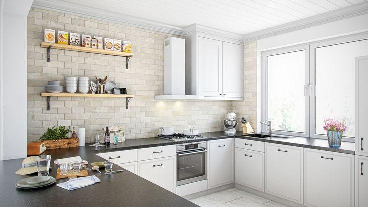 Klasyczna biała kuchnia z okapem kuchennym Nidaro 60.3 White, www.globalo.pl
