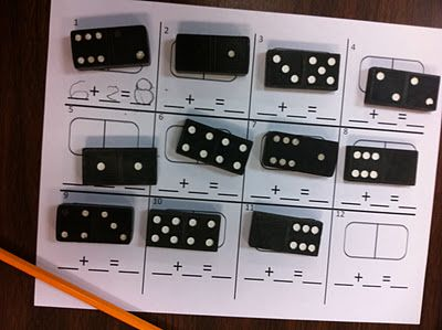Good quiet activity for addition, subtraction, multiplication, or division.: Math Tubs, Schools Math, Domino'S Math, Math Center, Teaching Kindergarten, Math Ideas, Math Activities, Domino'S Addition, Kindergarten Blog