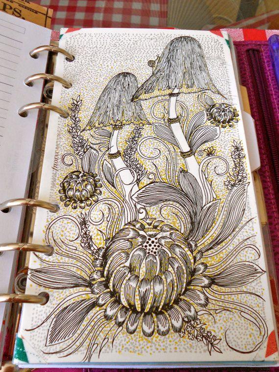 Hand drawn personal filofax divider - Shrooms