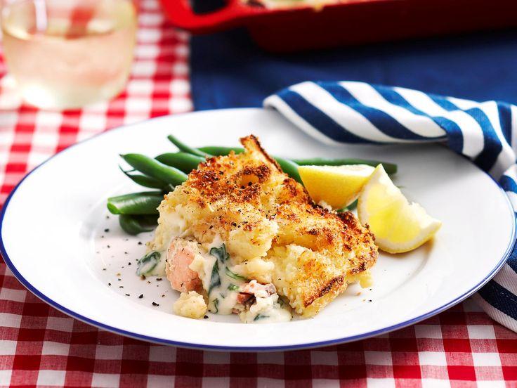 Salmon, leek and potato pie, potato recipe, brought to you by Woman's Day #yummy #recipeoftheday  #recipe_ideas
