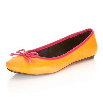 Love these ballet pumps in sunny orange with a cerise trim from  Miss Selfridge  Orange Ballet Flats