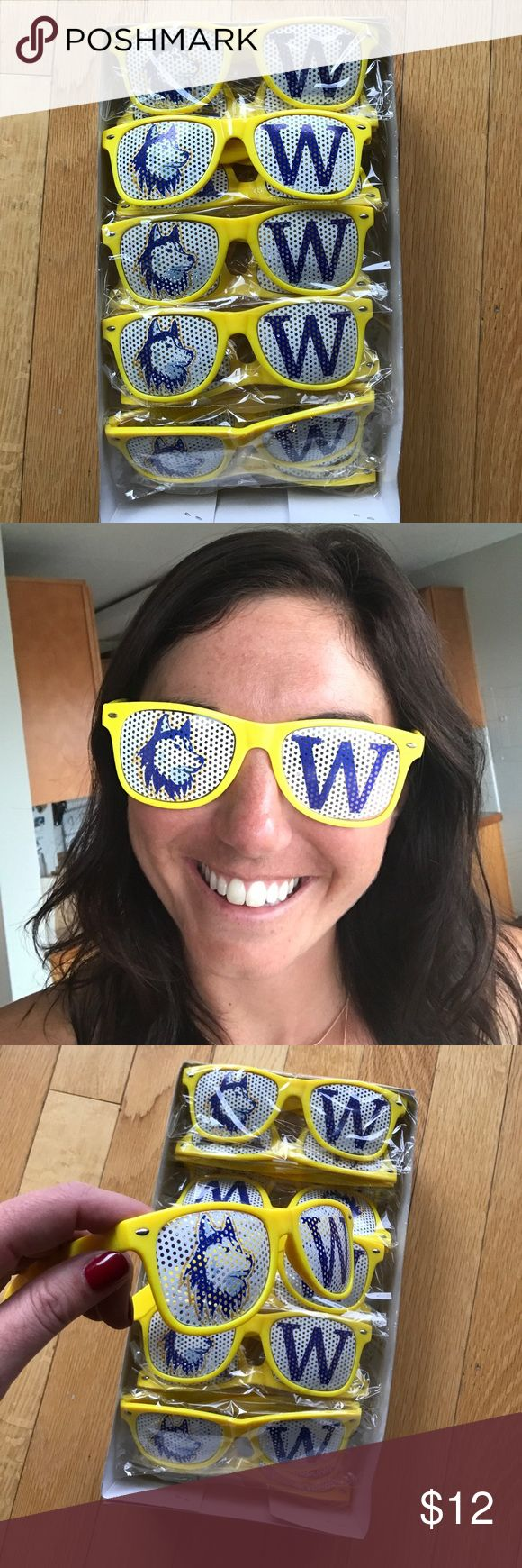 UW Husky Game Day Shades! UW Husky Game Day Shades! These are plastic, but made well. Been wearing these to husky football games for years! 💛💜💛💜 Accessories Sunglasses