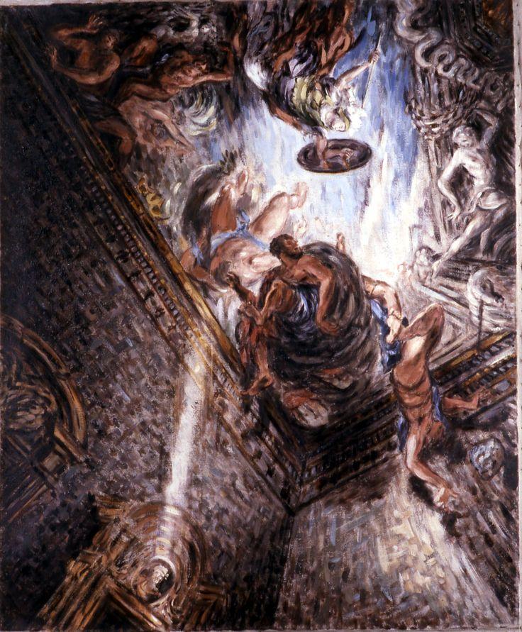 Palais Barberini; le salon de Cortona; vue fragmentaire du plafond, avec la chute des géants chassés du Mont Olimpe; 110x90 cm; tempéra sur toile; 2002