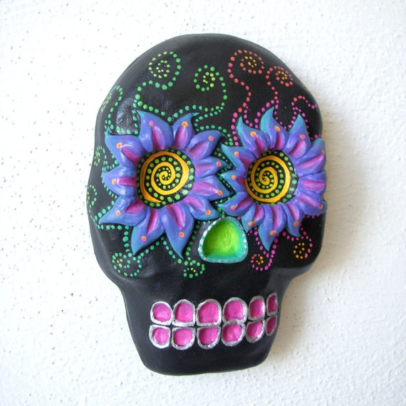 Awesome plaster skull by wearskullflower on Etsy