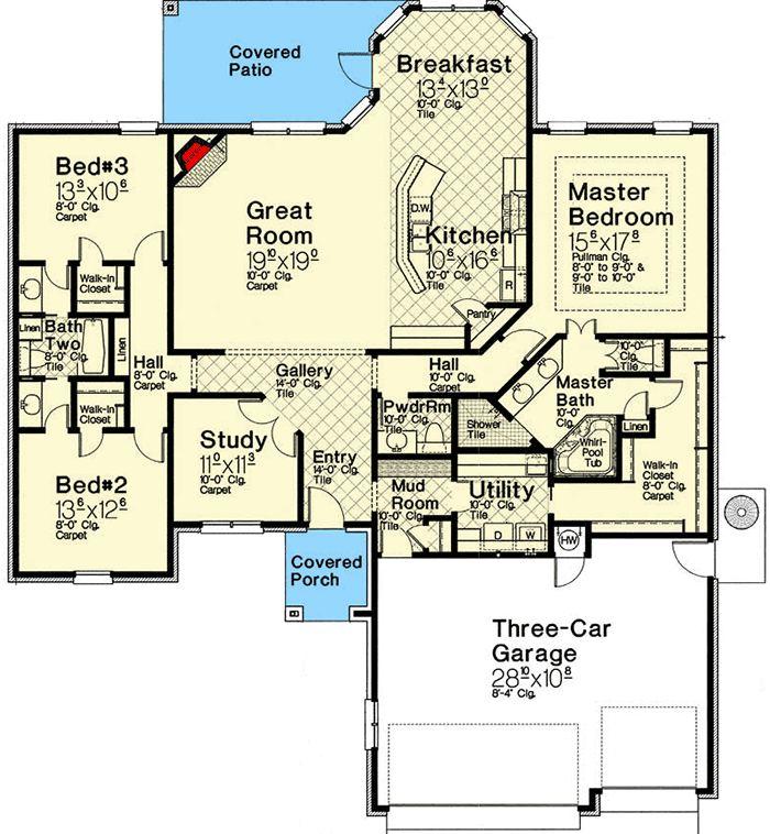 Plan 48554FM: Split Bedroom Traditional House Plan