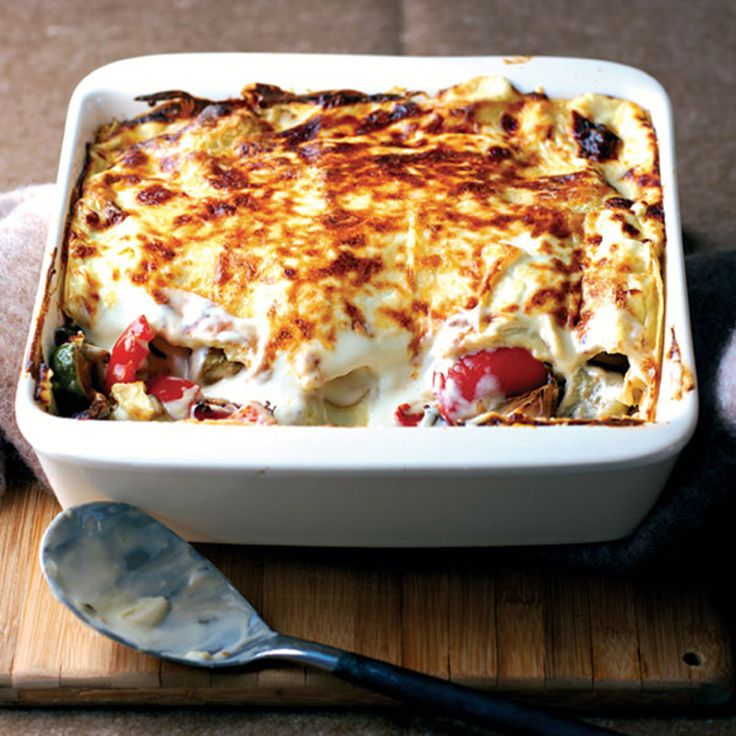 Try this vegetarian lasagne recipe made with aubergines, courgettes and peppers combined in a rich, creamy and cheesy sauce