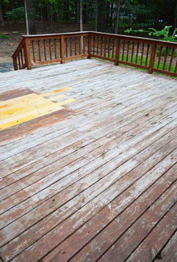 Deck Stripping via Young House Love - can't wait to make our back deck look nice again!