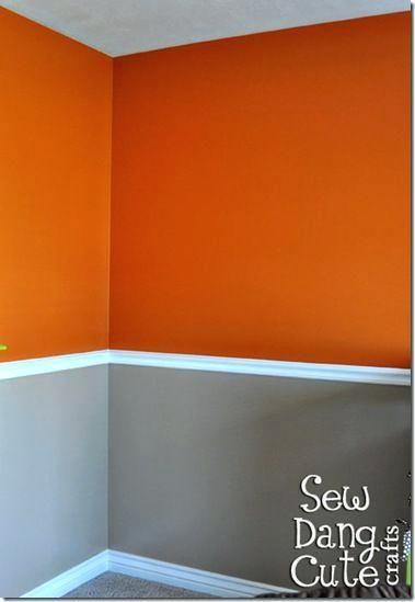 Grau und Orange Schlafzimmer #dekoideen #farben #dekoration #tapete