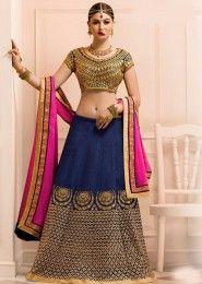 Wedding Wear Blue Banglori Silk Heavy Embroidery Work Lehenga Choli