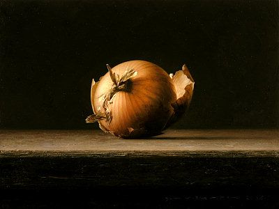 "Bernard Verkaaik. ""One Onion"" 2005. Oil paint on panel. 18x24 cm."