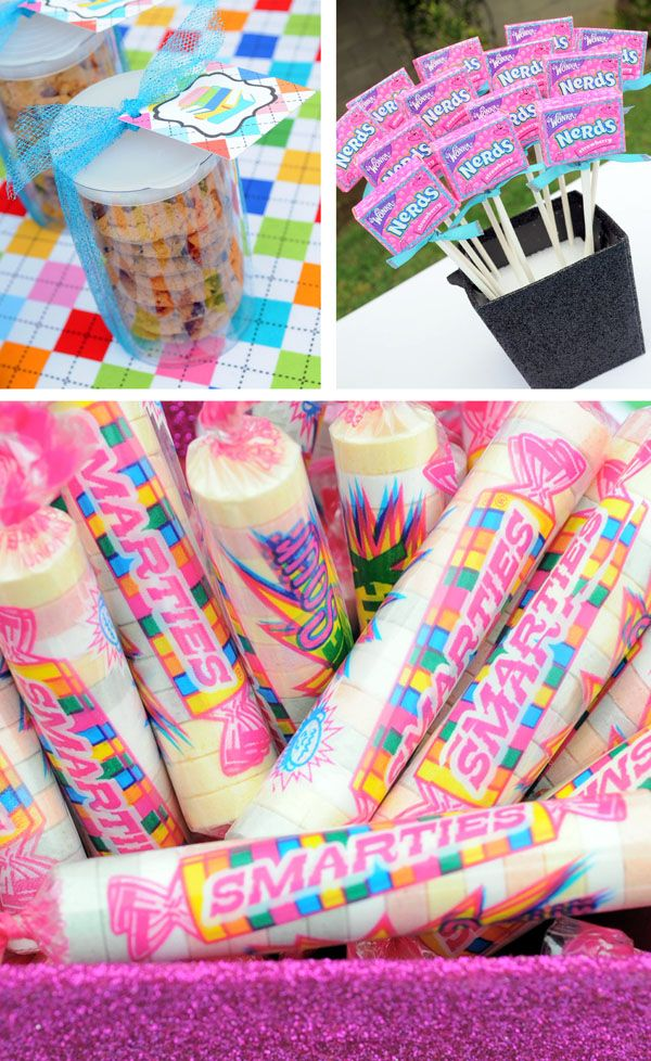 Love the nerds on sticks and smarties. Be cute for a graduation party!