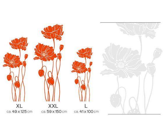 Wandtattoo Mohnblumen Blume Mohn Floral Wandsticker Wandaufkleber Wand Deko Aufkleber Sticker Wohnzimmer Esszimmer W310