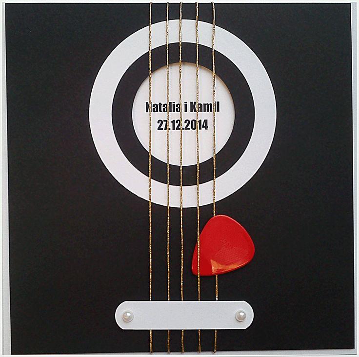 Kartka weselna z gitarą
