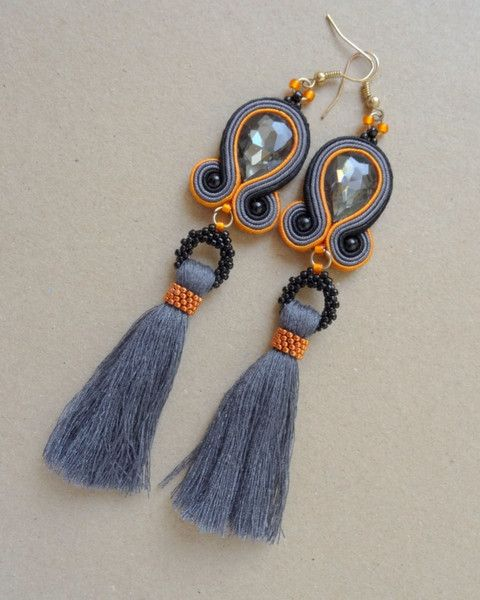 Soutache earrings with tassel
