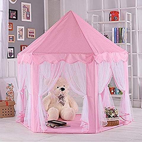 Anyshock Pink Princess Castle Kids Play Tent Indoor and Outdoor Children Playhouse Play Tent Toy Great Christmas Gift for 1-8 Years Old Kids/boy/girls/baby/Infant (No LED Light) #childrensindoorplayhouse