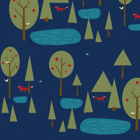 Little fox in the forest with trees, birds, and lakes, on a blue background.