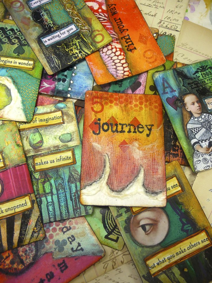 "I want to try Gelli printing on playing cards... think it will result in fun and interesting prints.  -- ""The Spoken Soul"" - Online altered playing card class this summer on Artful Gathering!"