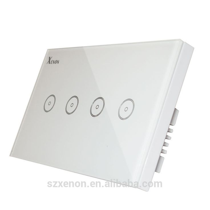 Smart Wi-Fi Switch button Glass Panel 4-gang US Touch Light Switch panel WiFi Alexa echo Wall Switch 110~240V