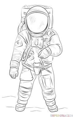 How to draw an astronaut Step
