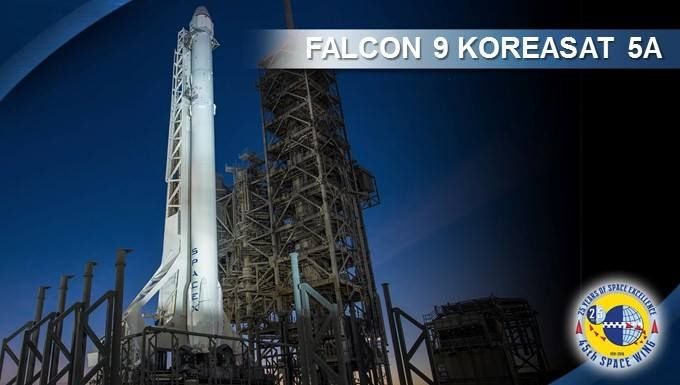 Air Force Space Command     Tune in--our 45th Space Wing at Patrick Air Force Base, Fla. is awesomely supporting another launch today at 1:34 Mountain time! This one is SpaceX's #Falcon9 carrying a commercial load, Koreasat 5a. Follow the 45th for more details and launch updates.