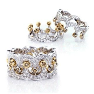 Classical SONA Diamond Crown Shape Ring Set For Women