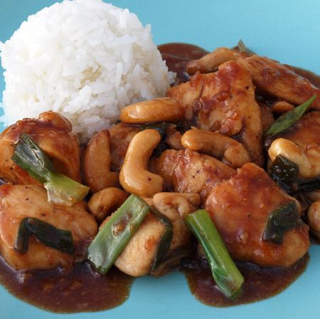 TESTED PERFECTED RECIPE - chicken and roasted cashews in garlic sauce tastes just like take-out, only better.