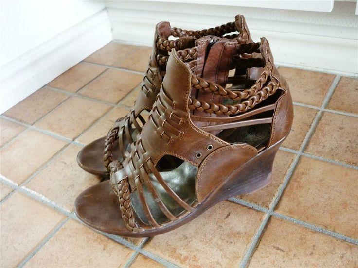 Sandaletter, flätat, boho, somriga, kilklack, strl 39