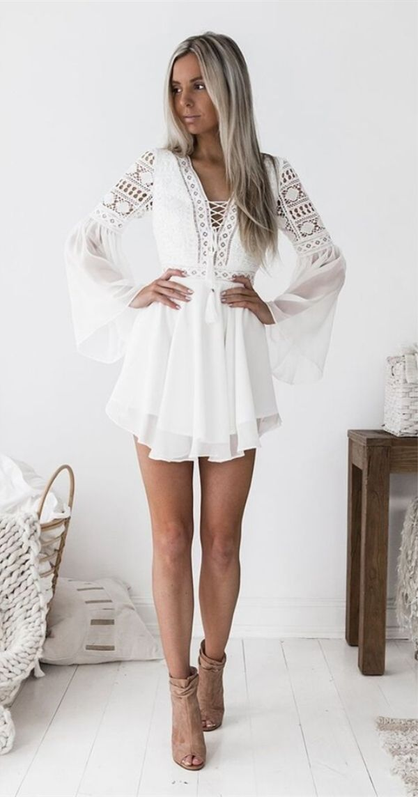 A-Line V-neck Bell Sleeves Short White Homecoming Party Dress with Lace