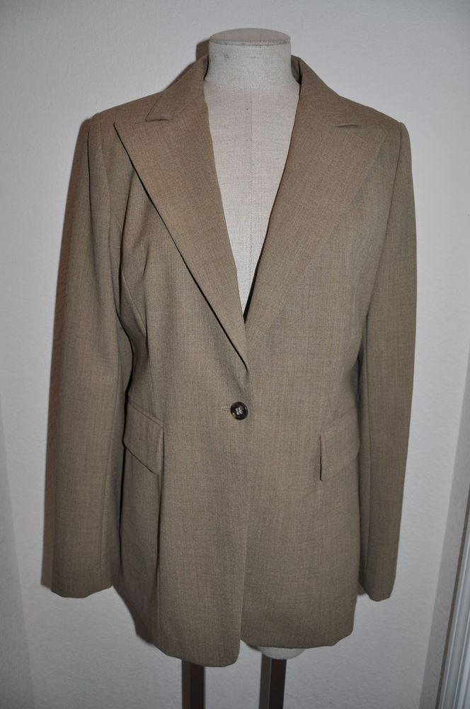 Banana Republic Women S Sz 12 Taupe Stretch Italian Wool Suit Jacket
