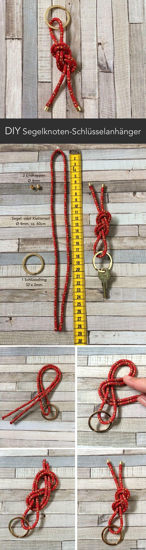Nettes Souvenir vom letzten Segelurlaub oder DIY Männergeschenk: Schlüsselanhänger mit Segelknoten