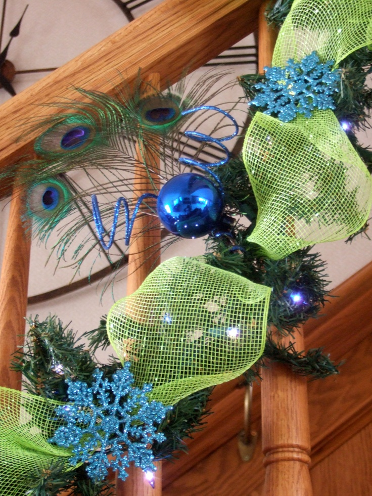 Close up of Peacock Embellishment - Check out my Peacock Christmas board to view the rest of the decorations