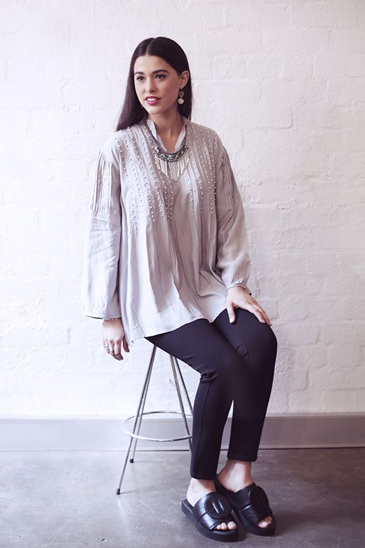 Pearl Beaded top in Silver http://cakeclothing.net/collections/winter-15/products/pearl-beaded-top-silver